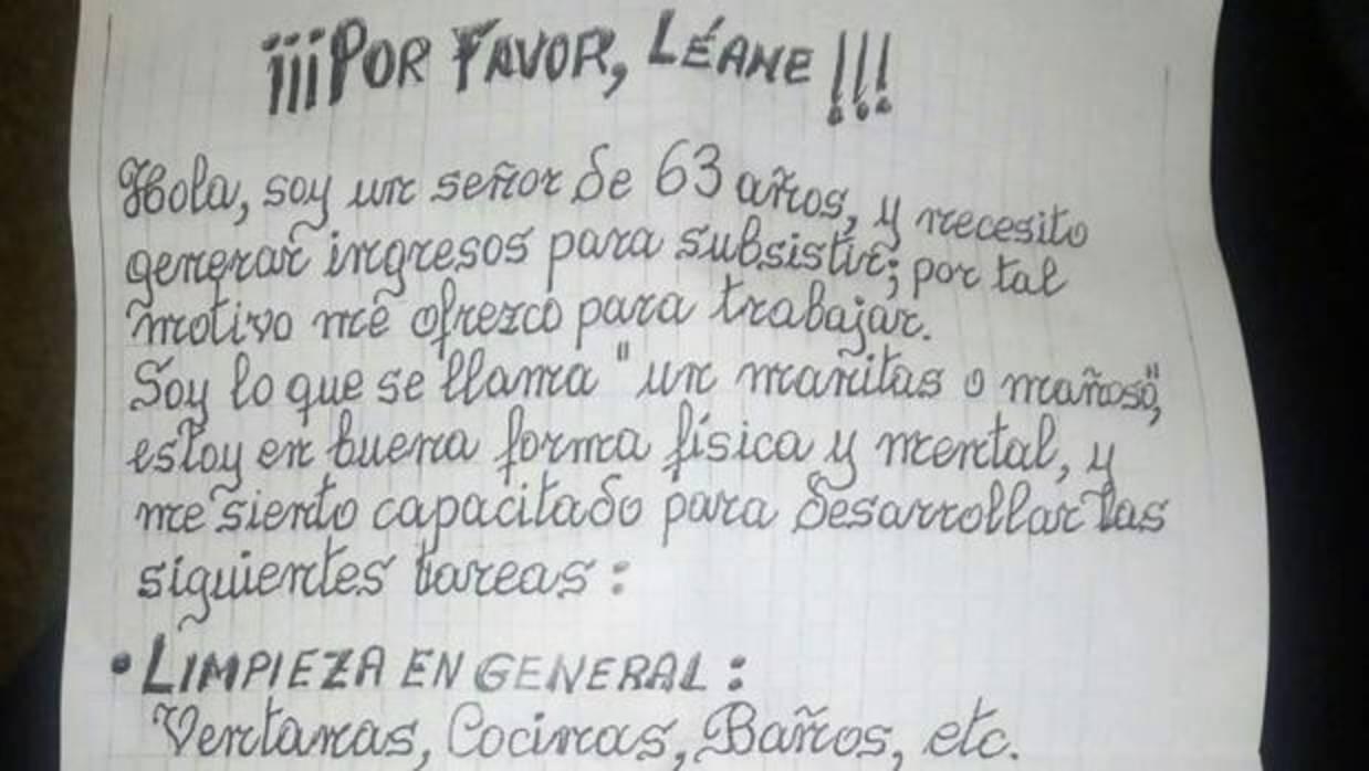 La carta de un señor de 63 años que pide trabajo en Valencia que ha conmovido a Twitter