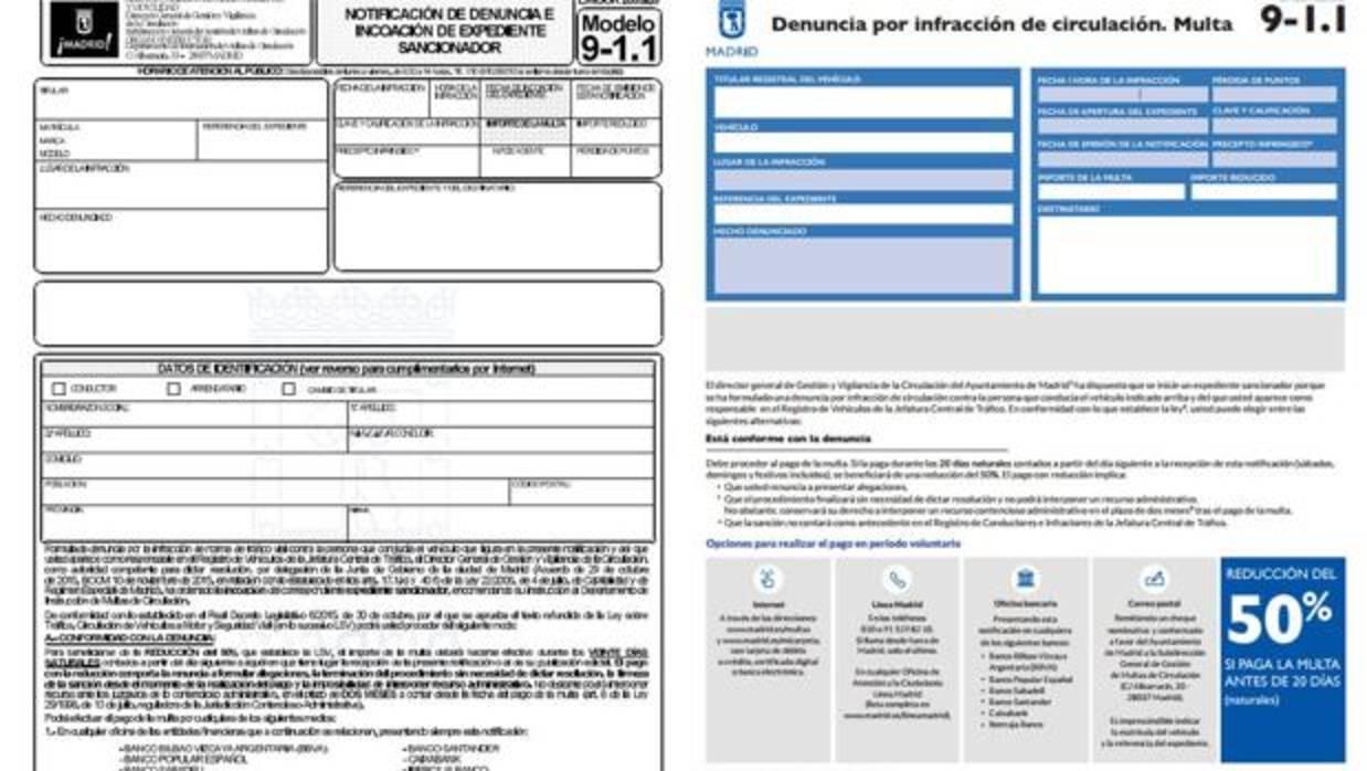 Así será la nueva multa de tráfico que el Ayuntamiento de Madrid enviará a partir de febrero