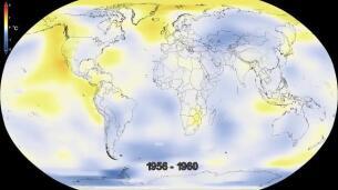 infografía de la NASA con el calentamiento de la Tierra hasta hoy