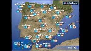 Previsión del tiempo para este martes 23 de mayo