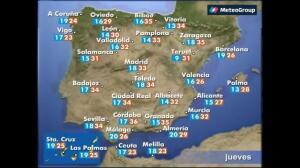 Previsión del tiempo para este jueves 25 de mayo