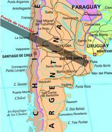En La Serena (Chile) la duración de la totalidad será de 2 minutos y 15 segundos, en Río Cuarto (Argentina) 1 minuto y 58 segundos, en Venado Tuerto (Argentina) 2 minutos 11 segundos y en Junín (Argentina) 2 minutos