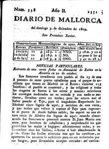 Primera vez que el Empecinado aparecía en la prensa española, en el «Diario de Mallorca»