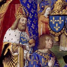 Miniatura del Libro de horas de Carlos VIII de Francia, con Luis XII orante y tras él, de pie, Carlomagno