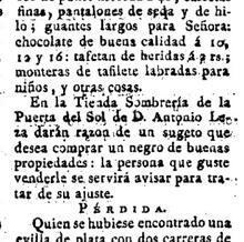 Anuncio del «Diario de Madrid» de 1804